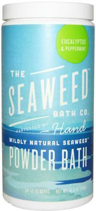 Seaweed Bath Co., Wildly Natural Seaweed Powder Bath, Eucalyptus & Peppermint, 16.8 oz (476 g) ,حمام، الجمال، أملاح أرجان حمام، أملاح الاستحمام