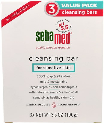 Sebamed USA, Cleansing Bar, 3 Pack ,حمام، الجمال، الصابون، العناية بالوجه، منظفات الوجه