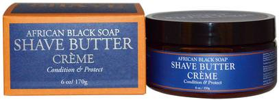 Shea Moisture, African Black Soap Shave Butter Creme, 6 oz (170 g) ,حمام، الجمال، كريم الحلاقة