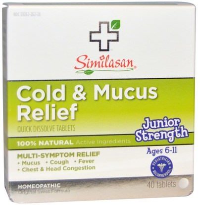 Similasan, Cold & Mucus Relief, Junior Strength, 40 Quick Dissolve Tablets ,المكملات الغذائية، المثلية، سعال انفلونزا البرد