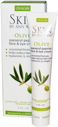 Skin By Ann Webb, Eyeseryl Peptide Face & Eye Cream, Olive, 1 fl oz ,الجمال، كريمات العين، العناية بالوجه، الجلد