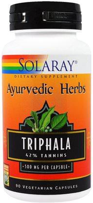 Solaray, Ayurvedic Herbs, Triphala, 500 mg, 90 Veggie Caps ,الصحة، السموم، تريفالا