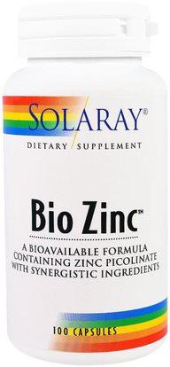Solaray, Bio Zinc, 100 Capsules ,والملاحق، والمعادن، والزنك، والفيتامينات، وفيتامين ب المعقدة