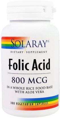 Solaray, Folic Acid, 800 mcg, 100 Veggie Caps ,الفيتامينات، حمض الفوليك