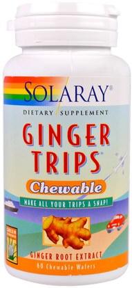 Solaray, Ginger Trips, 60 Chewable Wafers ,الأعشاب، جذر الزنجبيل