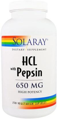 Solaray, HCL with Pepsin, 650 mg, 250 Vegetarian Capsules ,المكملات الغذائية، البيتين هكل