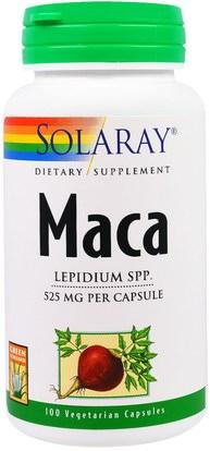 Solaray, Maca, 525 mg, 100 Veggie Caps ,الصحة، الرجال، الببغاء، المكملات الغذائية، أدابتوغين