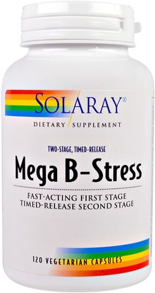 Solaray, Mega B-Stress, Two-Stage, Timed-Release, 120 Vegetarian Capsules ,الفيتامينات، فيتامين ب المعقدة