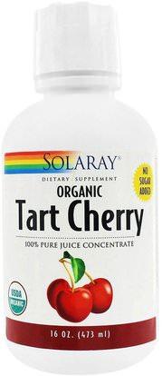 Solaray, Organic Tart Cherry Juice, 16 oz (473 ml) ,المكملات الغذائية، مقتطفات الفاكهة، الكرز (الفاكهة السوداء البرية)