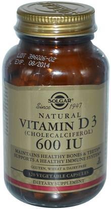 Solgar, Vitamin D3 (Cholecalciferol), 600 IU, 120 Vegetable Capsules ,الفيتامينات، فيتامين d3