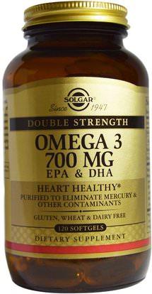 Solgar, Omega-3, 700 mg, EPA & DHA, 120 Softgels ,المكملات الغذائية، إيفا أوميجا 3 6 9 (إيبا دا)، دا، إيبا