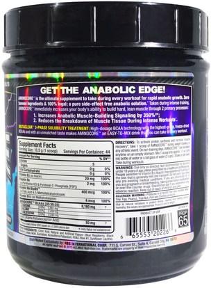 رياضات ALLMAX Nutrition, Aminocore, BCAA Max Strength, 8G Branched Chain Amino Acid, Gluten Free, Blue Raspberry, 1 lbs. (462 g)