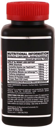 والرياضة، والأحماض الأمينية Nutrex Research Labs, Lipo 6 Rx, 60 Liquid Capsules