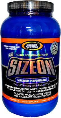 والرياضة، ومسحوق الكرياتين، والكرياتين Gaspari Nutrition, SizeOn, Whey Hydrolysate Creatine Formula, Orange Cooler, 3.49 lbs (1584 g)