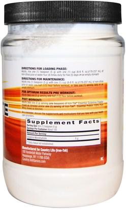 والرياضة، ومسحوق الكرياتين، والحديد تك الغلوتين الحرة Country Life, Iron-Tek, Creatine Monohydrate, 17.6 oz (500 g)
