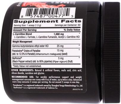 والرياضة، ومسحوق الكرياتين، تجريب Betancourt, Plus Series Carnitine, Strawberry Lemonade, 3.2 oz (90.0 g)
