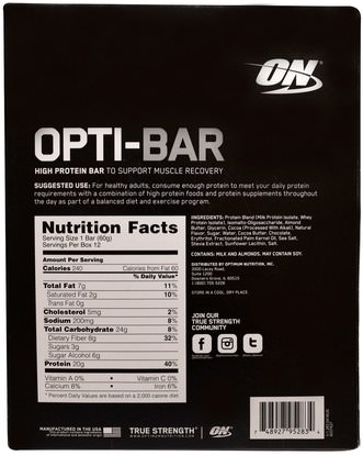 رياضات Optimum Nutrition, Opti-Bar High Protein Bar, Chocolate Brownie, 12 Bars, 2.1 oz (60 g) Each