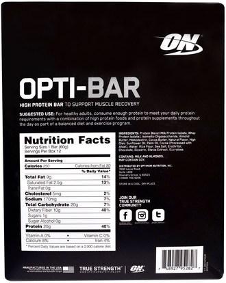 رياضات Optimum Nutrition, Opti-Bar High Protein Bar, Cookies n Cream, 12 Bars - 2.1 oz (60 g) Each