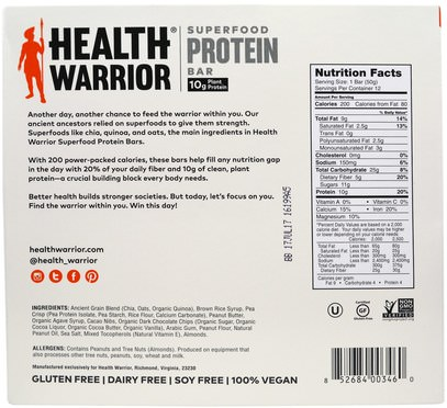 والرياضة، والبروتين أشرطة Health Warrior, Inc., Superfood Protein Bar, Peanut Butter Cacao, 12 Bars, 50 g Each