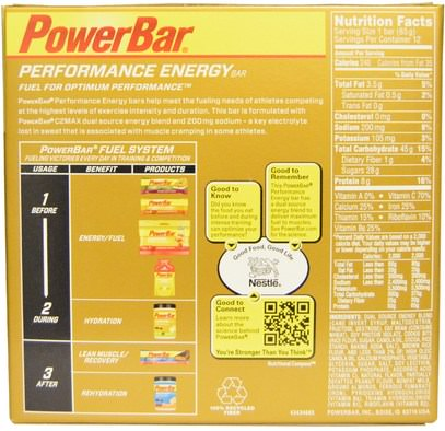 والرياضة، والبروتين أشرطة PowerBar, Performance Energy Bar, Cookie Dough, 12 Bars, 2.29 oz (65 g) Each