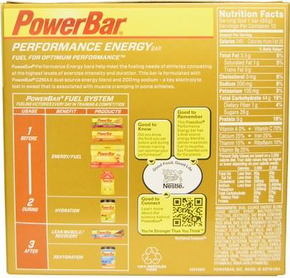 والرياضة، والبروتين أشرطة PowerBar, Performance Energy, Chocolate Peanut Butter, 12 Bars, 2.29 oz (65 g) Each