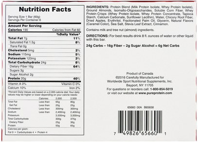 والرياضة، والبروتين أشرطة Pure Protein, Plus Bar, Apple Pie, 6 Bars, 2.11 oz (60 g) Each