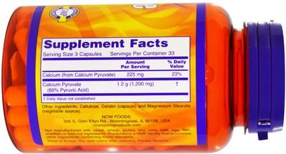والرياضة، البيروفات، البيروفات الكالسيوم Now Foods, Pyruvate, 1200 mg, 100 Capsules