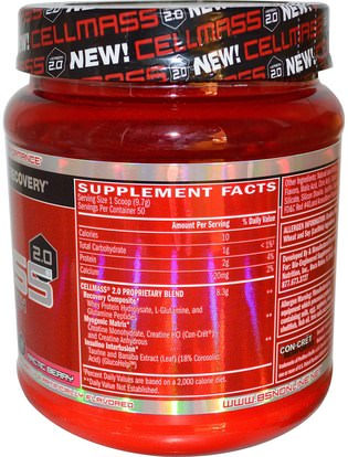 والرياضة، والرياضة، والعضلات BSN, Cellmass 2.0, Concentrated Post Workout Recovery, Arctic Berry, 1.06 lbs (485 g)