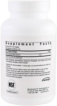 والرياضة، والمكملات الغذائية، والمكملات الابتنائية Thorne Research, Beta Alanine-SR, 120 Tablets