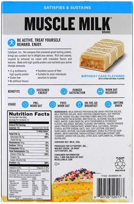 والرياضة، والمكملات الغذائية، والبروتين Cytosport, Inc, Muscle Milk, Protein Bar, Birthday Cake, 12 Bars, 1.76 oz (50 g) Each