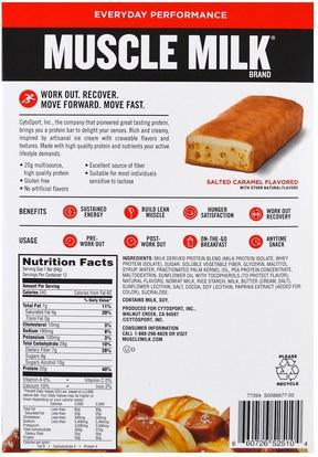 والرياضة، والمكملات الغذائية، والبروتين Cytosport, Inc, Muscle Milk, Protein Bar, Salted Caramel, 12 Bars, 2.25 oz (64 g) Each
