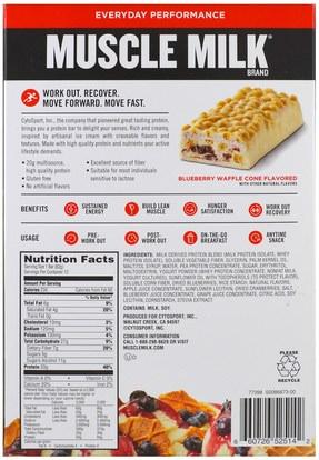 والرياضة، والمكملات الغذائية، والبروتين Cytosport, Inc, Muscle Milk Red Bar, Blueberry Waffle Cone, 12 Bars, 2.18 oz (62 g) Each