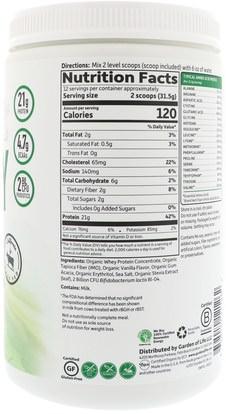 والرياضة، والمكملات الغذائية، بروتين مصل اللبن Garden of Life, Organic Whey Protein Grass Fed, Vanilla, 13.37 oz (379 g)