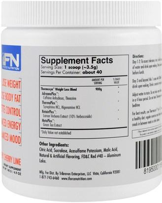 والرياضة، وفقدان الوزن، والنظام الغذائي، وحرق الدهون iForce Nutrition, Thermoxyn, Weight Loss Supplement, Very Cherry Lime, 4.9 oz (140 g)