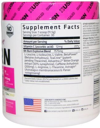 والرياضة، والمنتجات الرياضية النسائية، تجريب USN, Hers B4-Burn, Pre-Workout, Pink Lemonade, 12.17 oz (345 g)