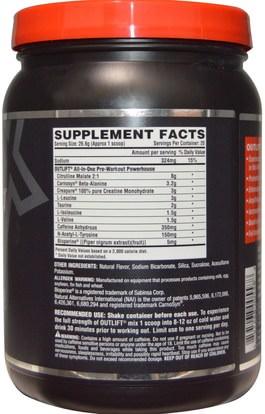 والرياضة، تجريب Nutrex Research Labs, Outlift, Pre-Workout Powerhouse, Blackberry Lemonade, 17.8 oz (506 g)
