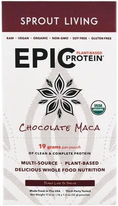 Sprout Living, Epic Plant-Based Protein, Chocolate Maca, 12 Pouches, 1.2 oz (32 g) Each ,المكملات الغذائية، أدابتوغين، والبروتين