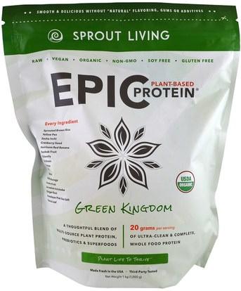 Sprout Living, Epic Protein, Green Kingdom, 1 kg (1,000 g) ,الطعام، حساء الباستا الأرز والحبوب والأرز والمكملات الغذائية والبروتين والبروتين الأرز
