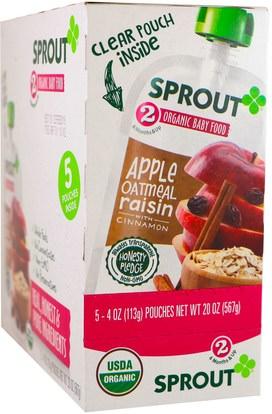 Sprout Organic, Baby Food, Stage 2, Apple, Oatmeal, Raisin with Cinnamon, 5 Pouches, 4 oz (113 g) Each ,صحة الطفل، تغذية الطفل
