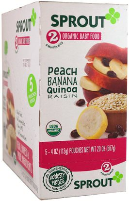 Sprout Organic, Baby Food, Stage 2, Peach, Banana, Quinoa, Raisin, 5 Pouches, 4 oz (113 g) Each ,صحة الطفل، تغذية الطفل