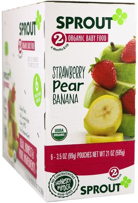 Sprout Organic, Baby Food, Stage 2, Strawberry, Pear, Banana, 6 Pouches, 3.5 oz (99 g) Each ,صحة الطفل، تغذية الطفل