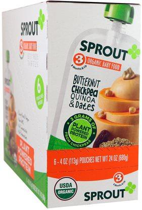 Sprout Organic, Baby Food, Stage 3, Butternut Chickpea, Quinoa & Dates, 6 Pouches, 4 oz (113 g) Each ,صحة الطفل، تغذية الطفل