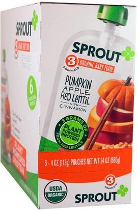 Sprout Organic, Baby Food, Stage 3, Pumpkin, Apple, Red Lentil With Cinnamon, 6 Pouches, 4 oz (113 g) Each ,صحة الطفل، تغذية الطفل