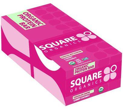 Square Organics, Organic Protein Bar, Chocolate Coated Cherry, 12 Bars, 1.7 oz (48 g) Each ,الطعام، الأطعمة النباتية، بروتين أشرطة
