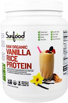 Sunfood, Raw Organic Vanilla Rice Protein, 2.5 lb (1.13 kg) ,المكملات الغذائية، البروتين، مسحوق بروتين الأرز