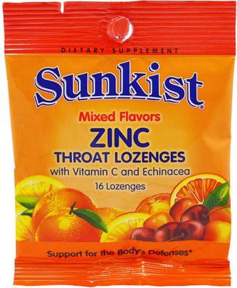 Sunkist, Zinc, Throat Lozenges with Vitamin C and Echinacea, Mixed Flavors, 16 Lozenges ,الفيتامينات، فيتامين ج، المعادن، معينات الزنك