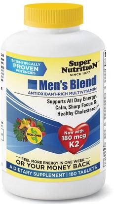 Super Nutrition, Mens Blend, Antioxidant-Rich Multivitamin, 180 Tablets ,الفيتامينات، الفيتامينات، مزيج من الرجال
