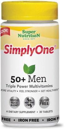 Super Nutrition, SimplyOne, 50+ Men, Triple Power Multivitamins, Iron Free, 30 Tablets (Discontinued Item) ,الفيتامينات، الرجال الفيتامينات