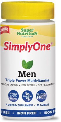 Super Nutrition, SimplyOne, Men, Triple Power Multivitamins, Iron Free, 30 Tablets ,الفيتامينات، الرجال الفيتامينات