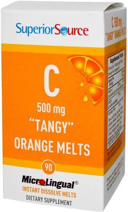 Superior Source, C Tangy Orange Melts, 500 mg, 90 MicroLingual Instant Dissolve Melts ,الفيتامينات، فيتامين ج، فيتامين ج مضغ